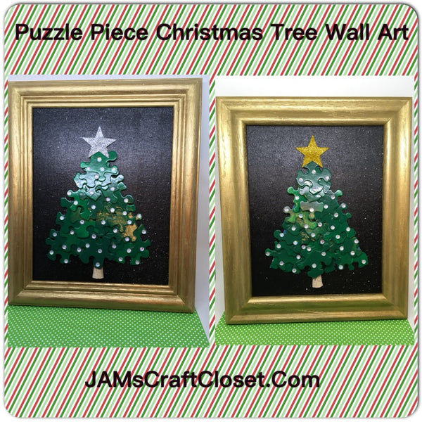 Christmas Tree Puzzle Pieces Wall Art Snowflake Background Holiday Decor Unique One of a Kind - JAMsCraftCloset
