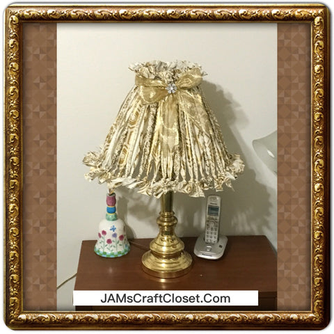 Rag Lampshade  Cream and Gold Cottage Chic Lighting Home Decor