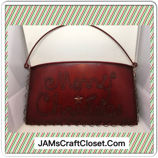 Basket Metal Tin Vintage Holiday Red Merry Christmas  Accent - JAMsCraftCloset