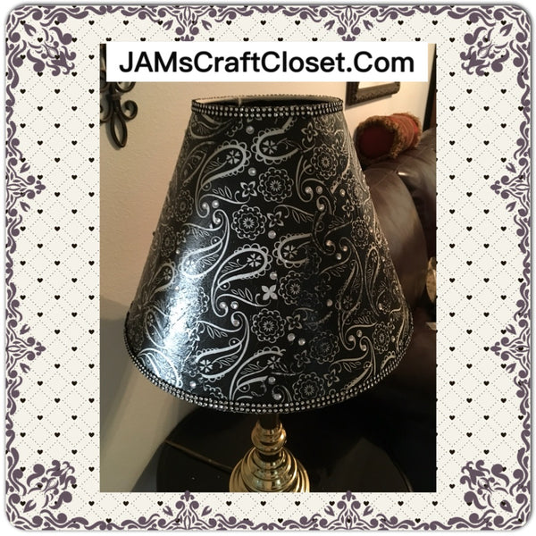Lampshade Decoupaged Black and White Paisley Print With Bling Cottage Chic Lighting Home Decor