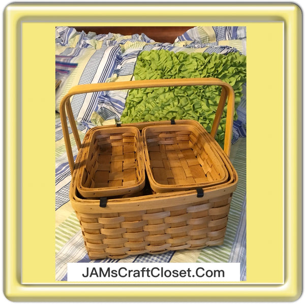 Picnic Basket with Tray and 2 baskets Vintage Storage Woven Wicker Craft NurseryStorage Picnic Basket Home Decor Cottage Chic Gift JAMsCraftCloset