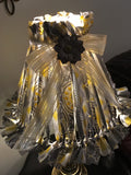 Rag Lampshade  Yellow Gray and White Cottage Chic Lighting Home Decor