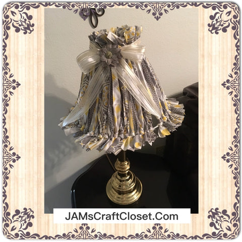 Rag Lampshade Handmade Yellow Gray and White Cottage Chic Lighting Home Decor JAMsCraftCloset