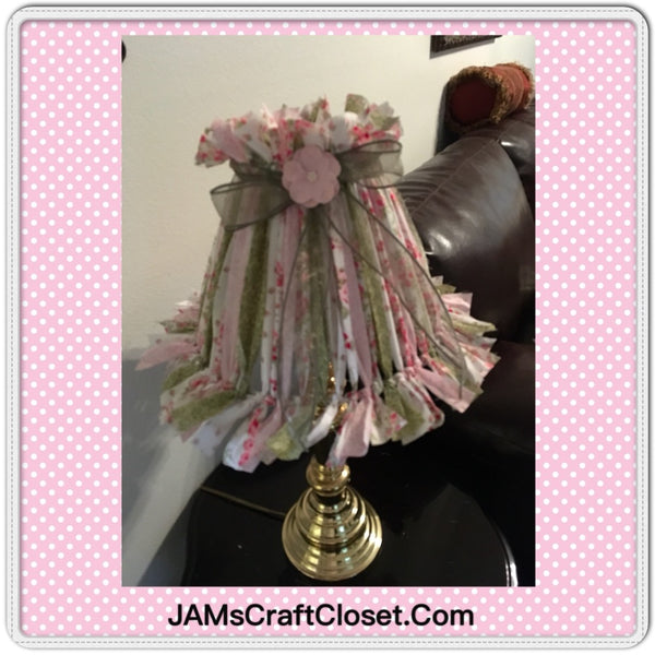 Rag Lampshade Handmade Pink Green and White Cottage Chic Lighting Home Decor JAMsCraftCloset