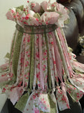Rag Lampshade  Pink Green and White Cottage Chic Lighting Home Decor