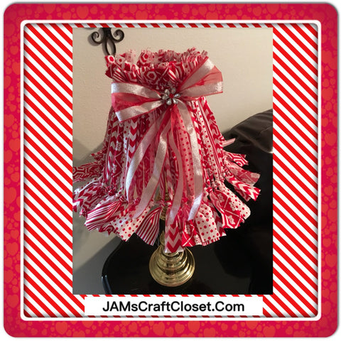 Rag Lampshade Handmade Red and White Cottage Chic Lighting Home Decor JAMsCraftCloset