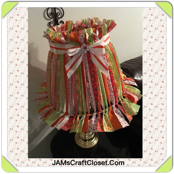Rag Lampshade Handmade Red Yellow Green and White Cottage Chic Lighting Home Decor JAMsCraftCloset
