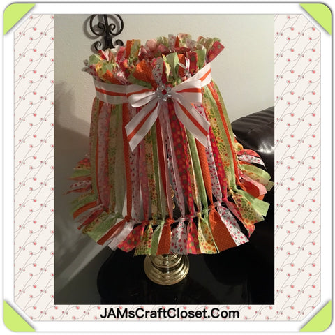 Rag Lampshade  Red Yellow Green and White Cottage Chic Lighting Home Decor