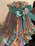 Rag Lampshade Square Aqua Pink Yellow and White Cottage Chic Lighting Home Decor
