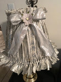 Rag Lampshade Silver and White Classy and Elegant Cottage Chic Lighting Home Decor