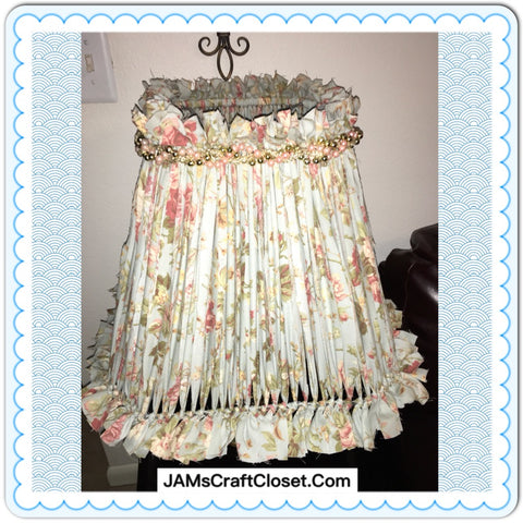 Rag Lampshade Light Blue Rust and White Floral With Bling Cottage Chic Lighting Home Decor Victorian JAMsCraftCloset