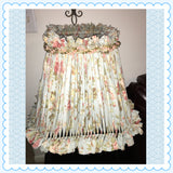 Rag Lampshade Light Blue Rust and White Floral With Bling Cottage Chic Lighting Home Decor Victorian