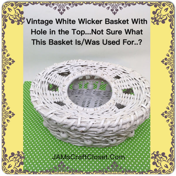 Basket White Wicker Hole in Top Unusual Mystery Primitive Cottage Chic  Victorian or Country Decor - JAMsCraftCloset