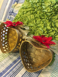 Heart Shaped Baskets Gold With Red Poinsettias Gold Bows and Leaves SET OF 2  Hanging or Sitting