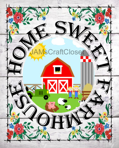 HOME SWEET FARMHOUSE - DIGITAL GRAPHICS  My digital SVG, PNG and JPEG Graphic downloads for the creative crafter are graphic files for those that use the Sublimation or Waterslide techniques - JAMsCraftCloset