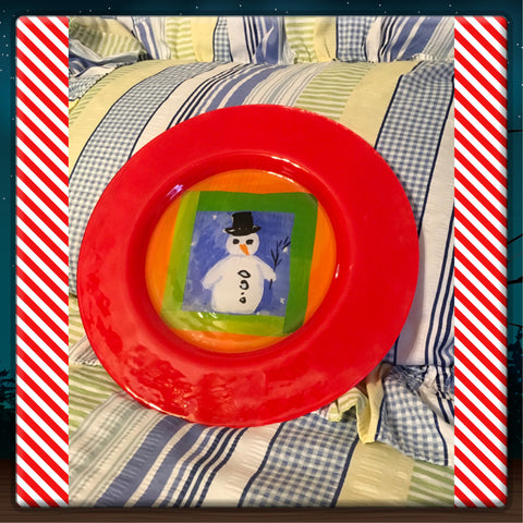Plate Platter Serving Dish Christmas Snowman Round Hand Painted Kitchen Dining Decor
