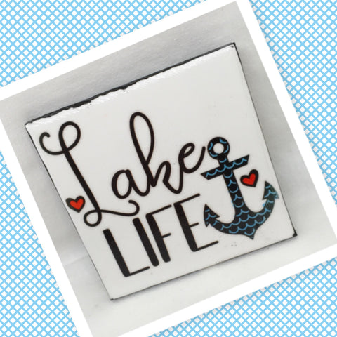 LAKE LIFE  Wall Art Ceramic Tile Sign Gift Idea Home Lake House Decor Positive Saying Quote Affirmation Handmade Sign Country Farmhouse  Campers RV Home and Living Wall Hanging - JAMsCraftCloset