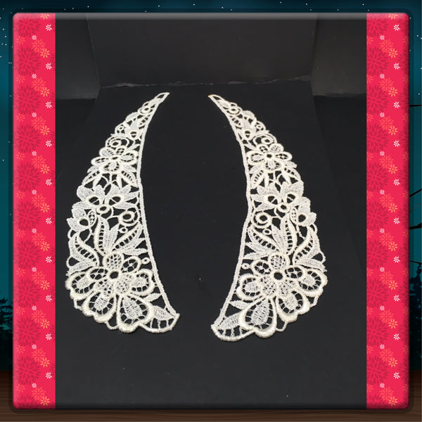 Collar Insets Appliques Battenburg Lace Vintage Dress Up a Dress or Sweater White