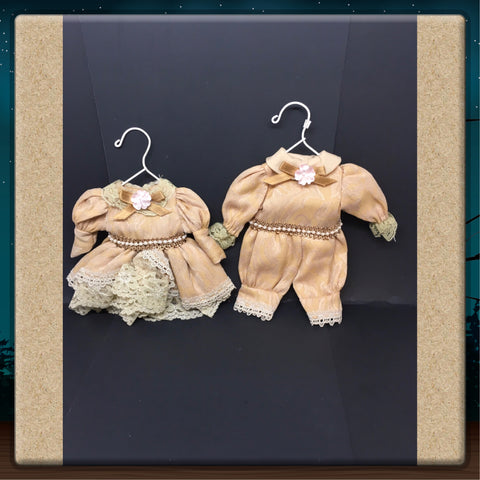 Ornament Victorian Boy Girl Beige Tan on Hanger Handmade Set of 2