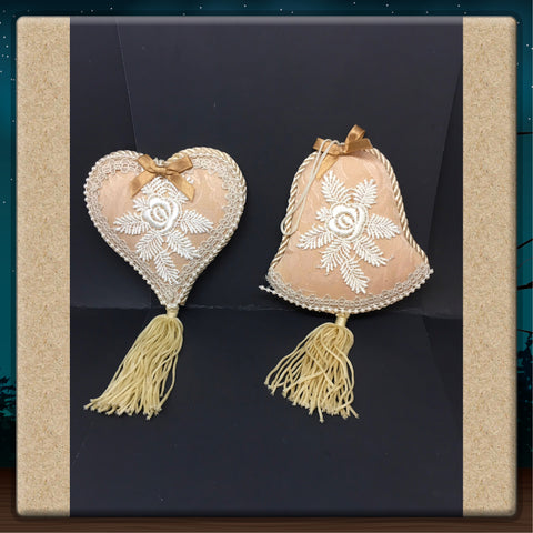 Ornament Victorian Bell and Heart Beige Tan Handmade Set of 2