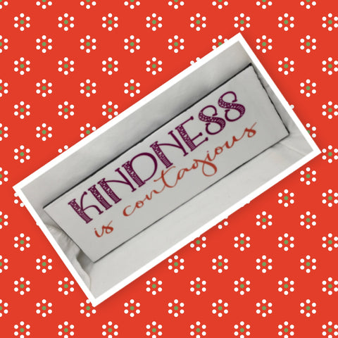 KINDNESS IS CONTAGIOUS Ceramic Tile Decal Sign Wall Art Wedding Gift Idea Home Country Decor Affirmation Wedding Decor Positive Saying - JAMsCraftCloset