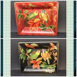 Ring or Change Dish Holder Rectangle 6 X 7 1/4 Parrots Vintage Home Decor Catch All