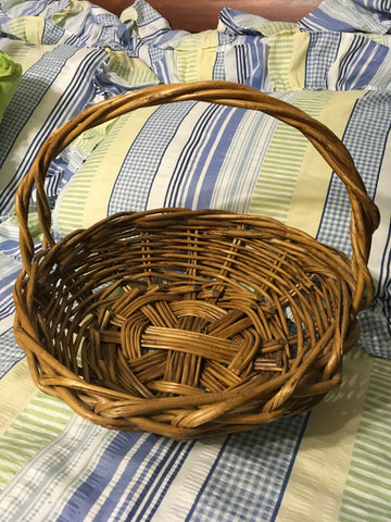 Basket Gathering Vintage Natural Woven Large Round