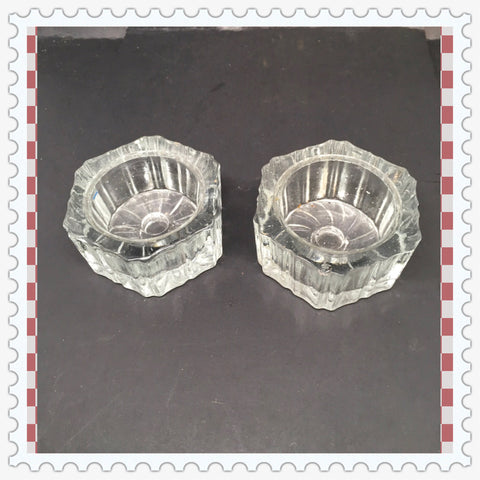 Candle Holder Six Sided Tealight Tea Light Vintage Clear Glass Romantic Lighting Set of 2 - JAMsCraftCloset