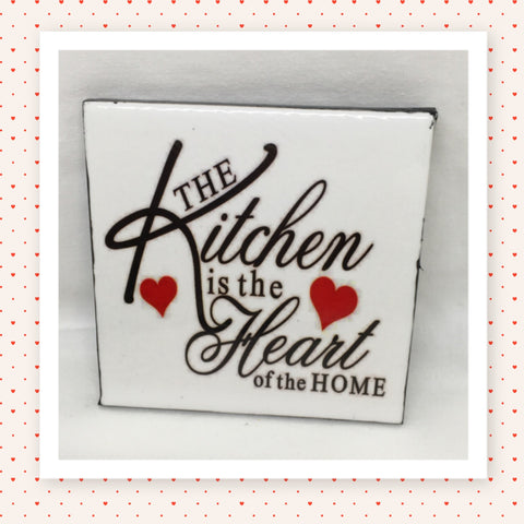 KITCHEN HEART OF HOME Wall Art Ceramic Tile Sign Gift Idea Home Kitchen Decor Positive Saying Quote Affirmation Handmade Sign Country Farmhouse Gift Campers RV Gift Home and Living Wall Hanging - JAMsCraftCloset