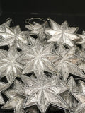Ornaments Silver Stars Vintage Christmas Tree Decor SET OF 16