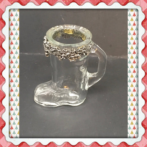 Shot Glass Boot Vintage With Metal Holly Berries Around Rim