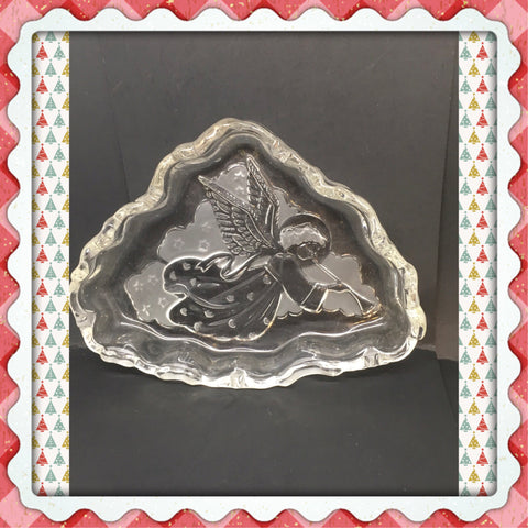 Candy Dish Odd Triangle Shaped Vintage Mikasa Embossed Trinket Plate Dish Angel Christmas