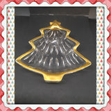 Candy Dish Studio Nova Tree Shaped Vintage Embossed Trinket Plate Dish Gold Trim Christmas - JAMsCraftCloset