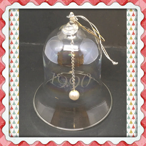 Bell Ornament Clear Glass 1990 Etched on Front Christmas Decor Gift