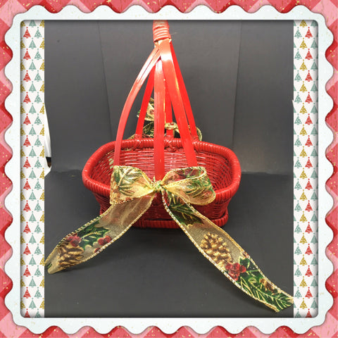 Basket Flower Girl Vintage Red Woven Rectangle TODDLER Holiday Christmas Wedding Accessory