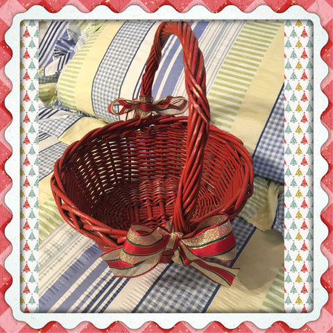 Basket Flower Girl Vintage Red Wicker Oval Holiday Christmas Wedding Accessory - JAMsCraftCloset