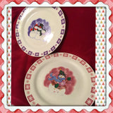 Plate Platter Serving Dish Christmas Pink and Purple Snowman Snowflakes Round Kitchen Dining Decor