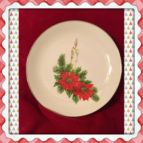 Plate Platter Serving Dish Christmas Poinsettias Pine Candle Round Kitchen Decor