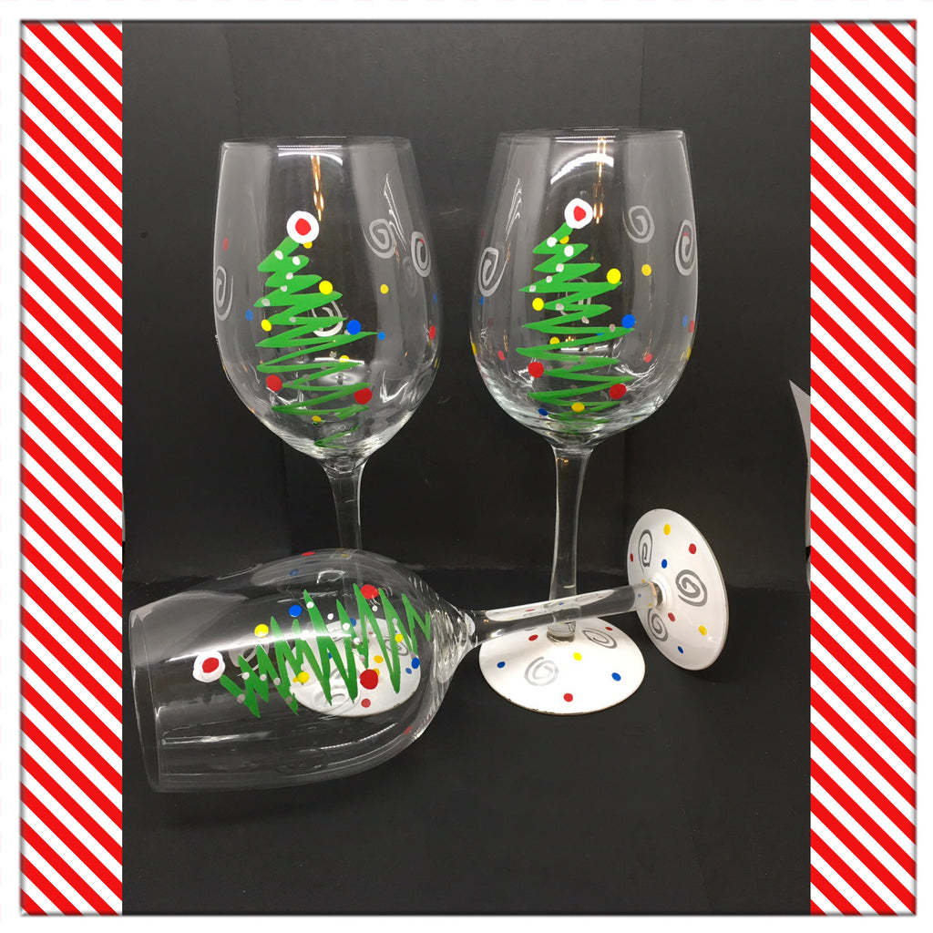 Stemware Glasses Christmas Tree Hand Painted Clear Glass Set of 2 Holiday Bar Decor