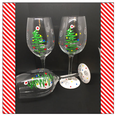 Stemware Glasses Christmas Tree Hand Painted Clear Glass Set of 2 Holiday Bar Decor Barware Drinkware Bar Decor One of a Kind Gift JAMsCraftCloset