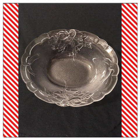 Serving Bowl Mikasa Oval Holiday Bells Glass Embossed Ruffled Edge