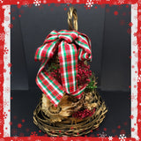 Bell Ornament Vintage Gold Woven Dried Flowers Misletoe Red Green Plaid Bow Christmas Decor Gift - JAMsCraftCloset