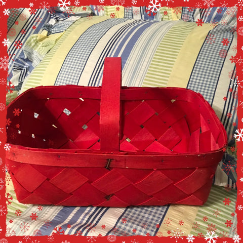 Egg Basket Red Vintage Gathering Country Market Smaller Unique Home Decor