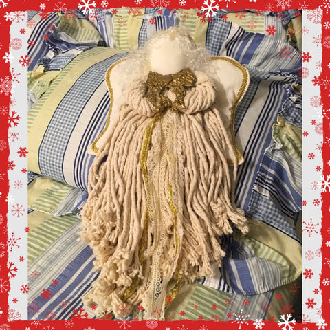 Rope Angel Handmade Wall Art Shelf Sitter in Cream Holiday Decor Guardian Angel