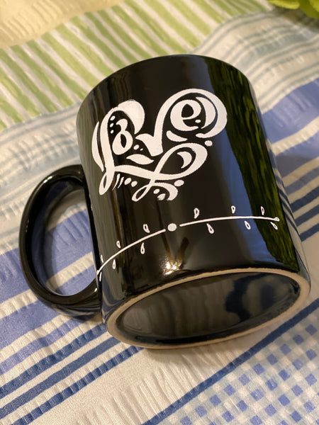 Farmhouse Country Kitchen Black White Heart Decor Mug Cup Coffee Hand Painted Barware Gift Idea JAMsCraftCloset