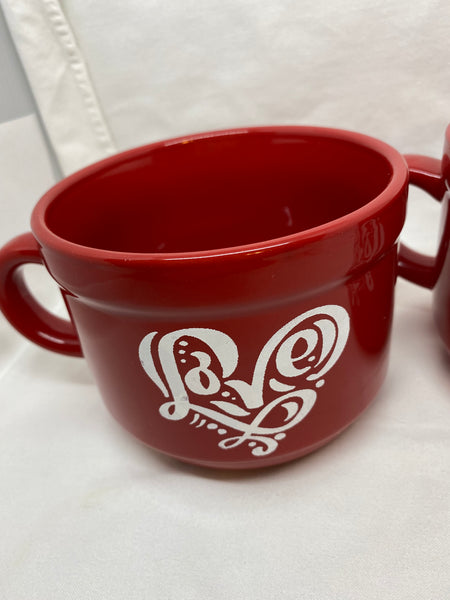 Farmhouse Country Kitchen Red White Heart Decor Mug Cup Coffee Hand Painted Barware Gift Idea JAMsCraftCloset