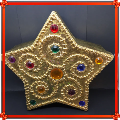 Box Star Shaped Gold With Bling Accents Cardboard Storage Home Decor