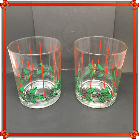 Glasses Rock Vintage Clear Glass Christmas Holly Berry Set of 2 Red Vertical Lines