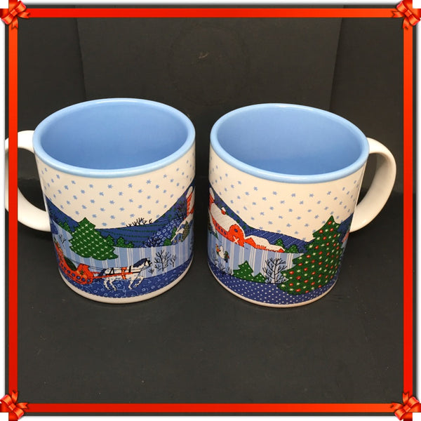 Mugs Vintage Potpourri Press Christmas Horse Drawn Sleigh Farm Christmas Tree Set of 2 c. 1988
