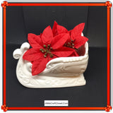 Sleigh White Ceramic Vintage Christmas Holiday Decor Gift Idea